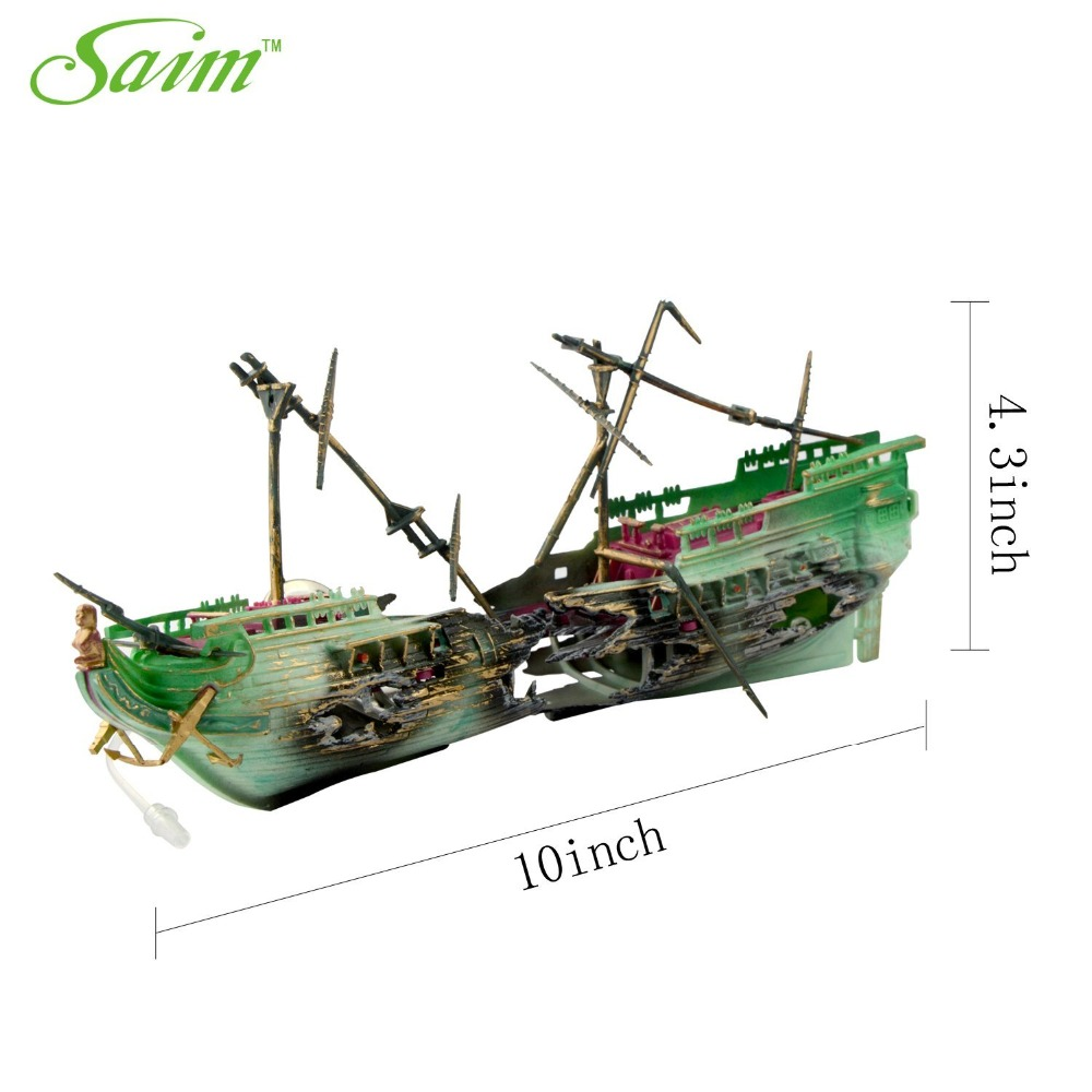 Buy fish tank plastic broken boat ship for How to ship fish