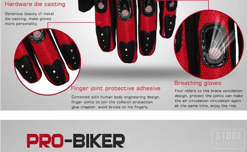 PRO-BIKER Summer Motorcycle Full Finger Protective Gears Racing Gloves Motorbike Motocicleta Guantes Luvas Motor Racing Gloves