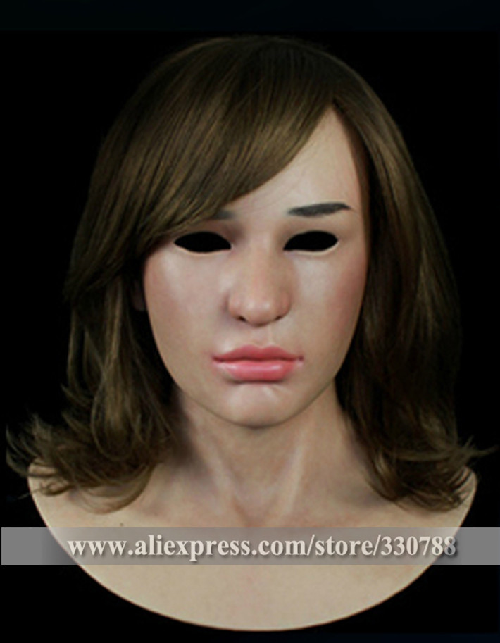 [SF-N14] silicone female mask, crossdresser party mask masquerade masks men, human face halloween - Guangzhou Angel Company store