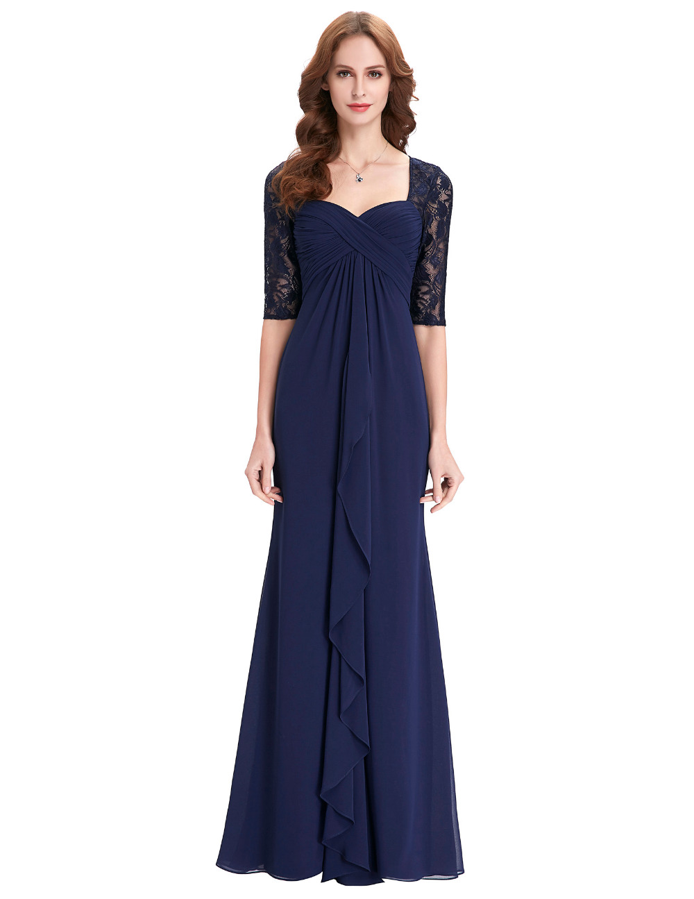 Real photo half sleeve evening dress 2016 ruffles chiffon for Navy dresses for weddings