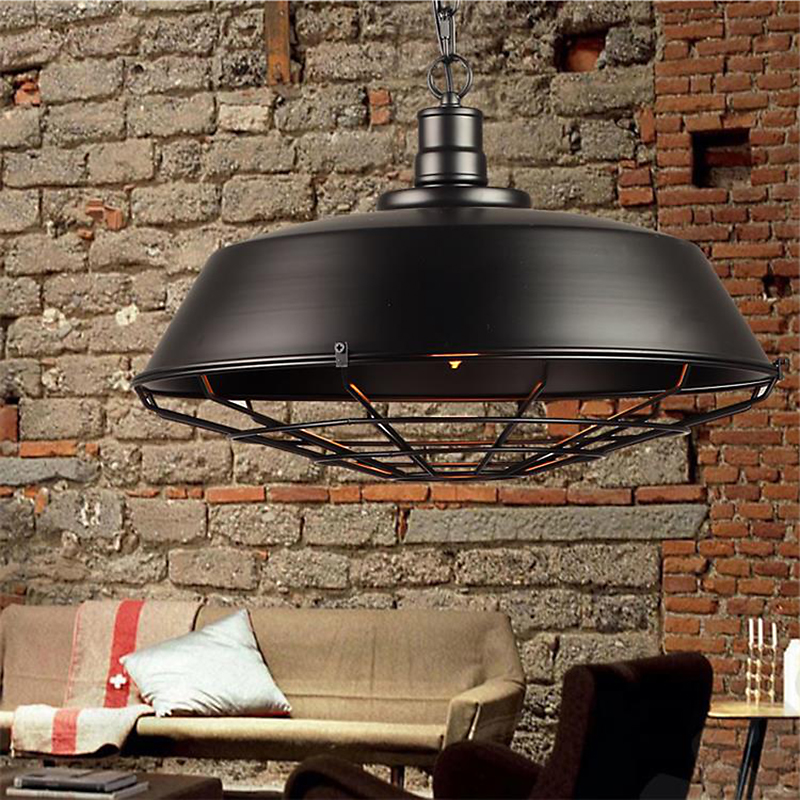 American country retro Creative loft industrial single-head pendant iron lid terrace restaurant pendant lamp bar