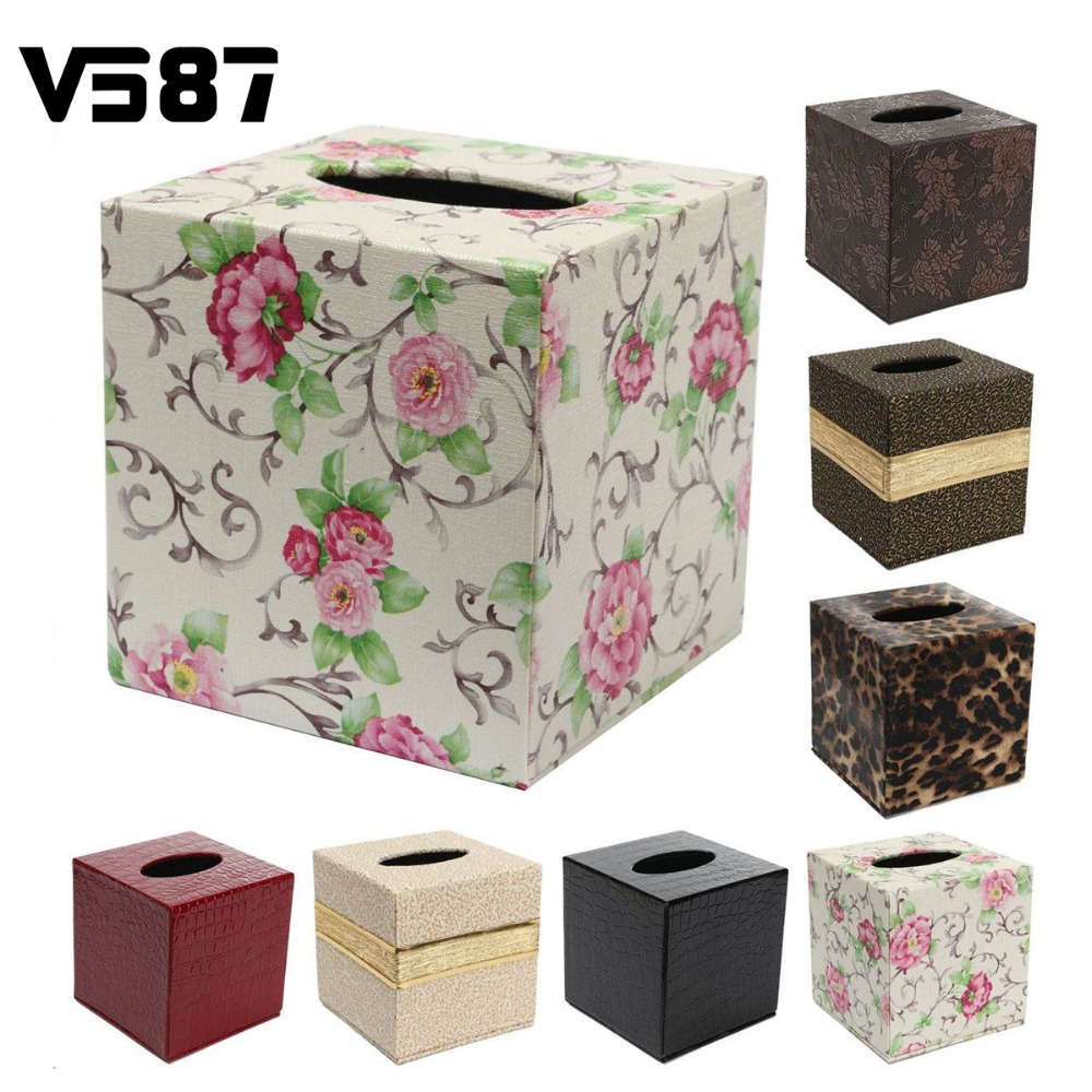 PU Leather Tissue Box Case Home Table Bathroom Decor Square Elegant Paper Napkin Holder For Office Car Hot(China (Mainland))