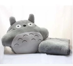 Cute Plush totoro hand warmer pillow air conditioning blanket with pillow quilt dual use cushion ...