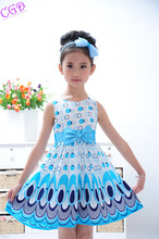 Hot Selling 2016 New Children's Clothing Dresses Girls Sleeveless Summer Dress Peacocks Baby Girl Dress Bow Free Shipping Q41