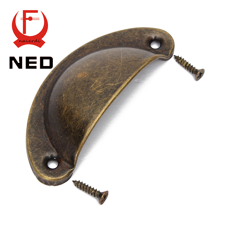 NED 2PCS Retro Metal Kitchen Drawer Cabinet Door Handle And Furniture Knobs Handware Cupboard Antique Brass Shell Pull Handles<br><br>Aliexpress