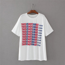 Buy 2017 Summer Women T-shirts Letters Printed O Neck Short Sleeve T shirt Casual Fit Fashion White Long Tops Camisetas Femininas for $13.99 in AliExpress store