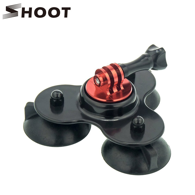 Removable Low Angle Secure Tripod 3 Vacuum Car Camera Suction Cup Mount Base with CNC Screw for GoPro Hero 4 3+ 3 2 Xiaoyi SJCM(China (Mainland))