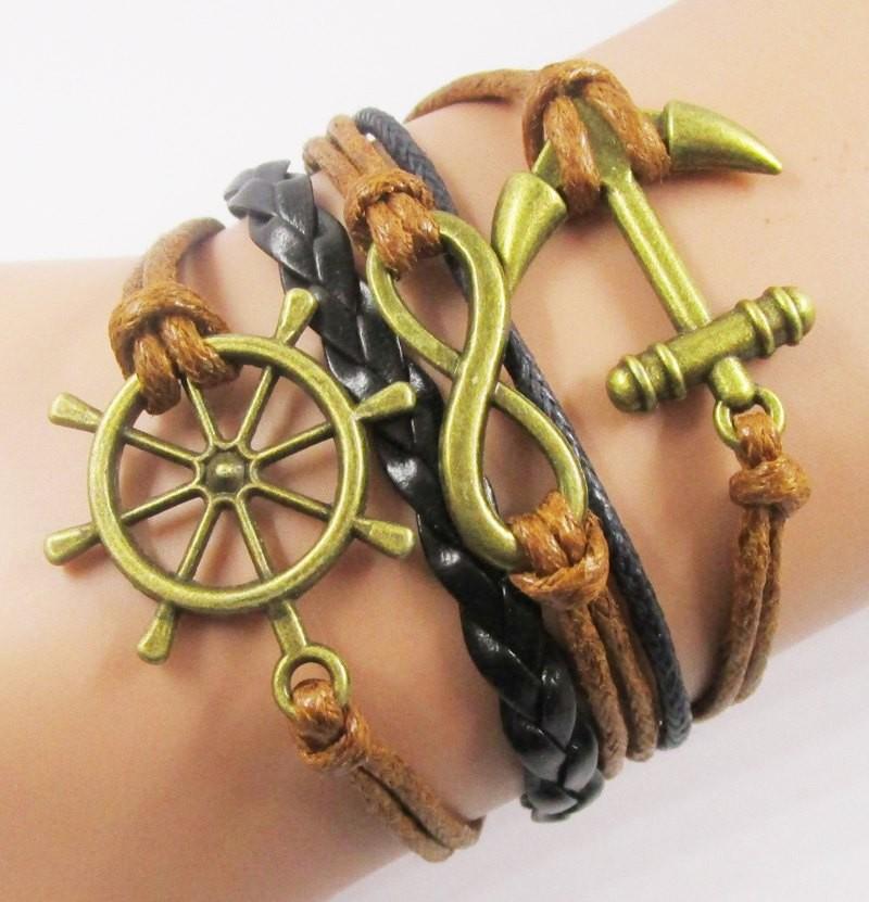 Anchor Bracelets Braided Leather Wax Cord Bracelets, Beautiful Rudder Anchor and Infinity Charm Handmade Weave Bracelet Jewelry(China (Mainland))