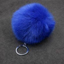 Bonito falso Pele De Coelho Pompom bola de SoftBall Carros Saco De Chaveiro Para As Mulheres Pom Pom Fofo Chaveiro Pingente Chaveiro Porte Clef charme(China)