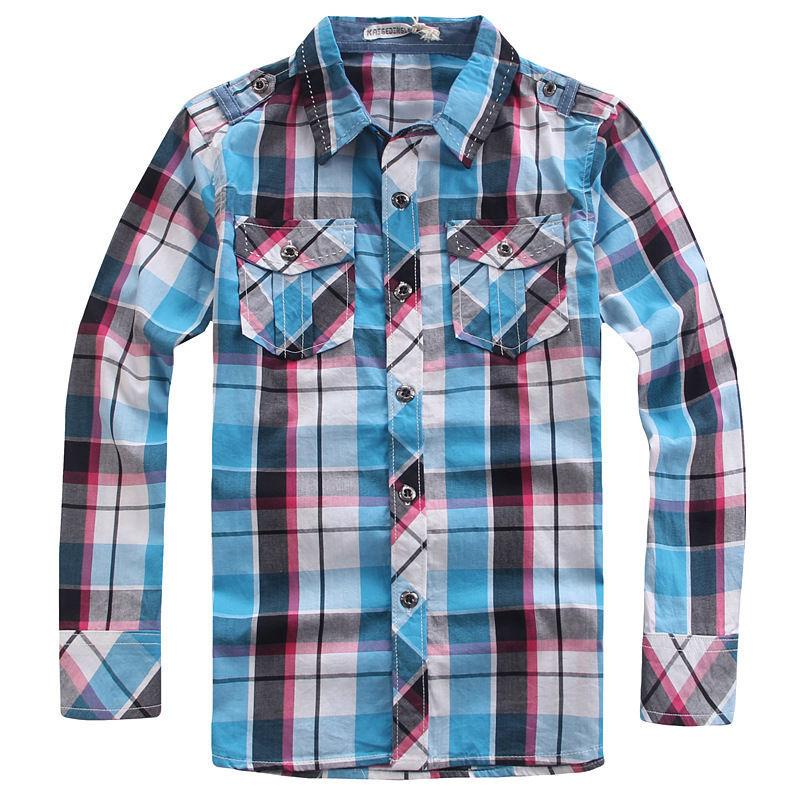 boys shirtschildren blouseboy shirt long sleeveblusas de manga compridaboys checked shirtboys dress shirtsdot patter - The Yellow River store
