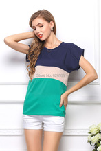 Women s Blouse Plus Size 2015 New Brand Three color Stitching Short Sleeve Women Camisetas Y