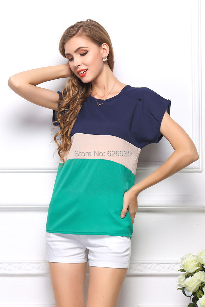 Women s Fashion Plus Size 2015 New Brand Three color Stitching Short Sleeve Women Camisetas Y