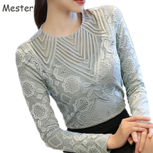 Buy Women Elegant Long Sleeve Lace Blouse Crewneck Floral Lace Hollow Mesh Shirt Ladies Office Slim Patchwork Tops Grey/Black for $12.84 in AliExpress store