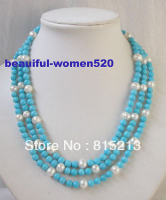 ddh001130 3strand 8mm turquoise white round pearl necklace