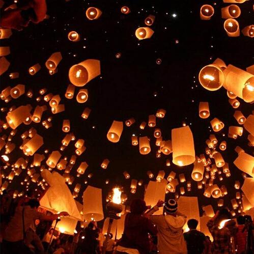 2016 Hot Romantic Sky Lanterns Paper Flying Balloons kongming Lanterns with Birthday Wedding Party Decoration (10pcs)(China (Mainland))