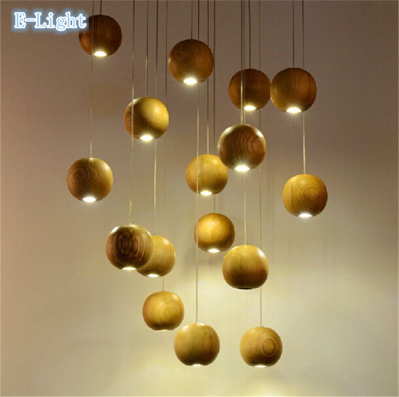Modern European LED Pendant Lights 110-220V G4 Wood Ball Vintage Lamp Creative Simple Ceiling Lamp Indoor Lighting Free Shipping(China (Mainland))