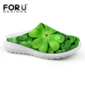 Casual Women Sandals Summer Shoes Mesh Breathable Green Leaf Clover Garden Shoes Outdoor Mules Clogs Slip