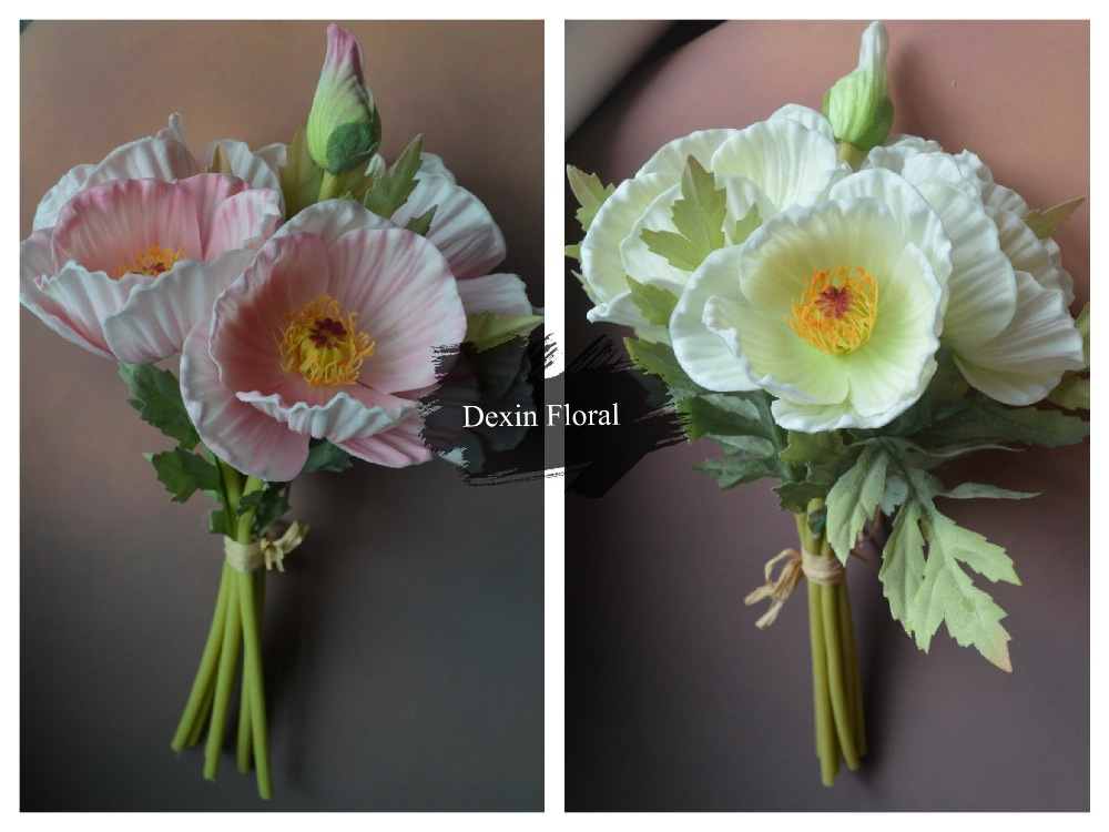 Real Touch Flowers Poppy Bridal Bouquet Artificial Poppy Posy Flowers
