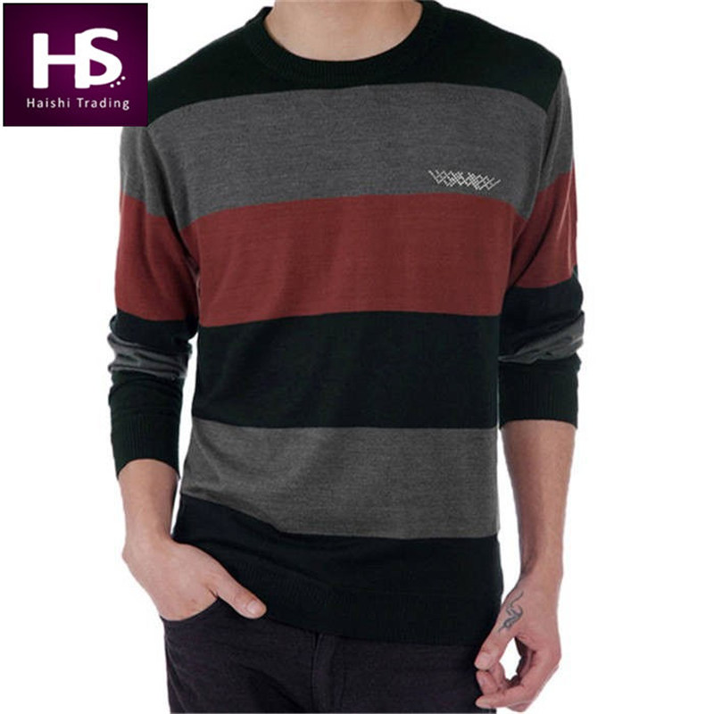 Fashion Wool Sweater Men 2016 Striped O-Neck Pullovers Mens Sweaters Brand Casual Cashmere Pull Homme Long Sleeve Men's Clothing(China (Mainland))