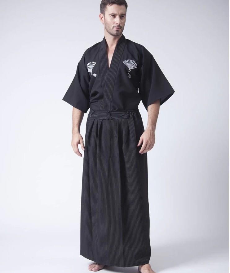 Винтаж черный японские мужчины воин кимоно