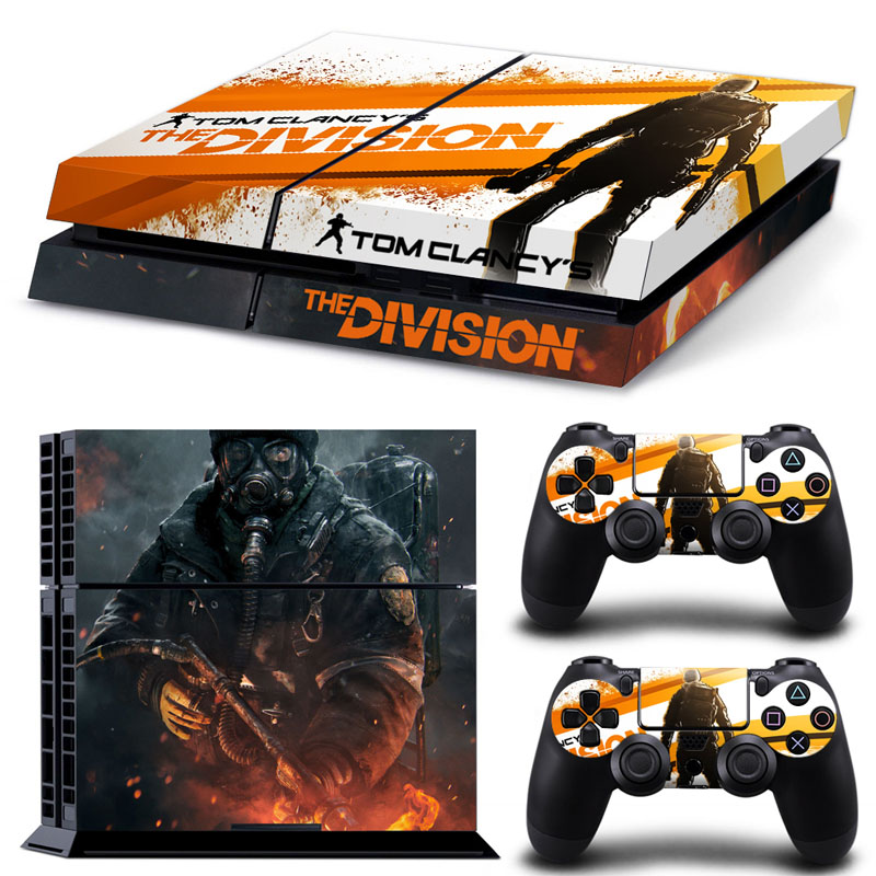 Hot Game The Division PVC Protection Decal Skin Cover Case Sticker For Sony PS4 Console Playstation 4 Console+2 Controllers skin(China (Mainland))