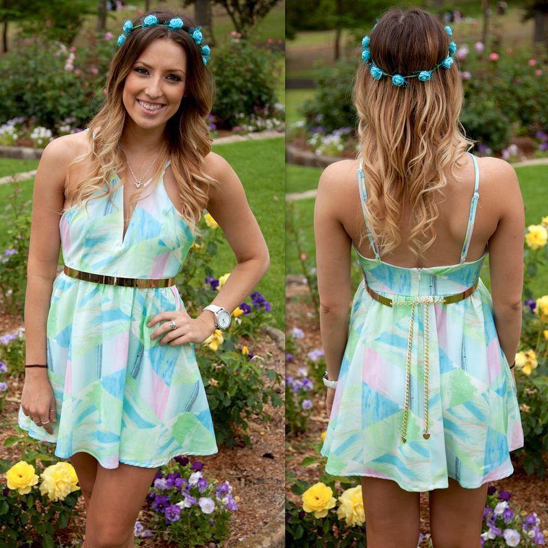 2015 Sheath Print Sleeveless Spaghetti Strap Natural V-neck Knee-length Broadcloth Ruffles Gradient Summer Dresses - AGELBABY136 store