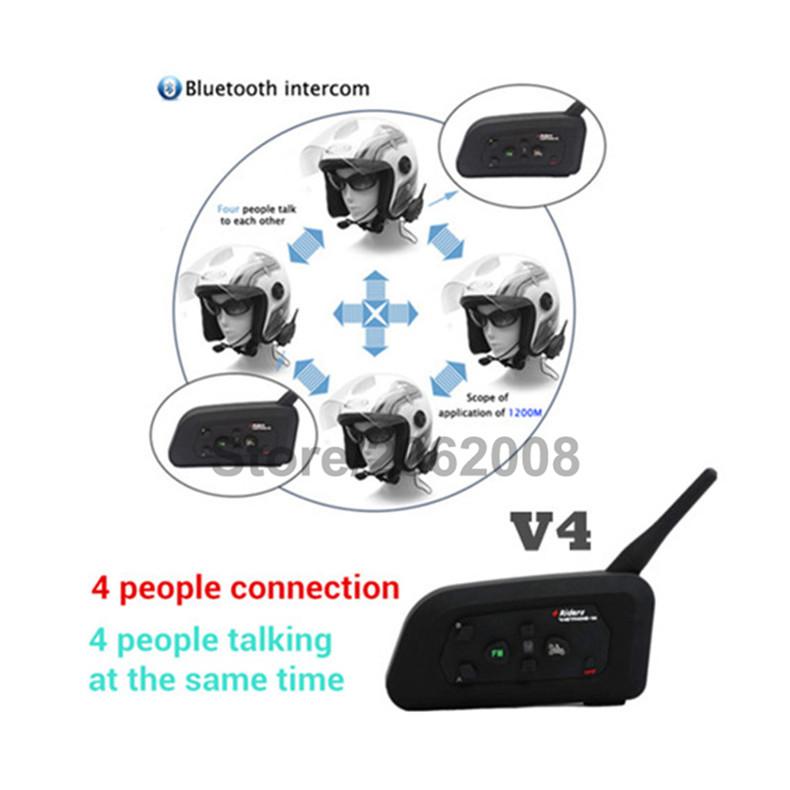 Vnetphone 2PC V4C 1200m Full Duplex Wireless Bluetooth Intercom Headset Skiing Cycing Soccer Referee BT Interphone Earphone+FM