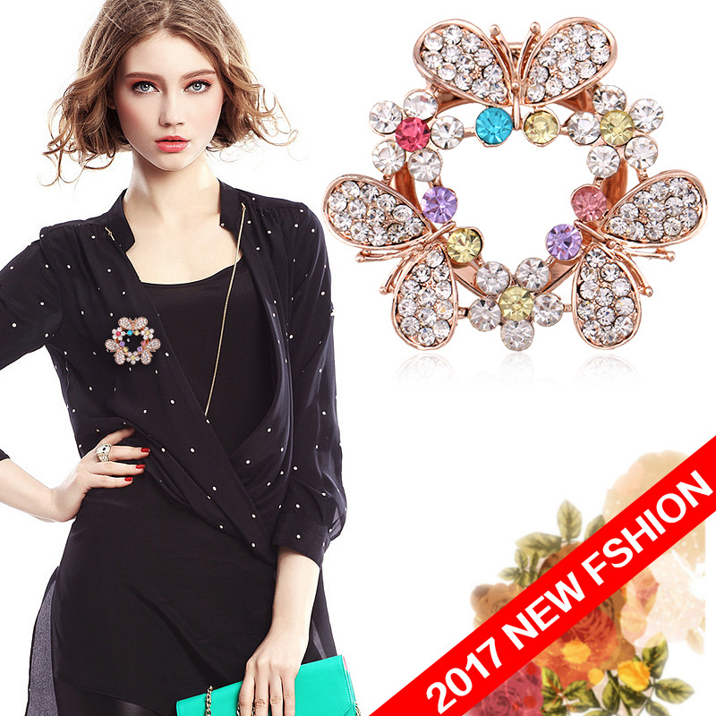 2017 New Fashion Various Designs Crystal Rhinestones Flower Butterfly Double Used Brooch Pins or Scarf Clips(China (Mainland))
