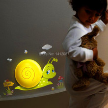 2pcs cartoon snail child light control wall night light,creative DIY wall paper decorated lamp,free shipping(China (Mainland))