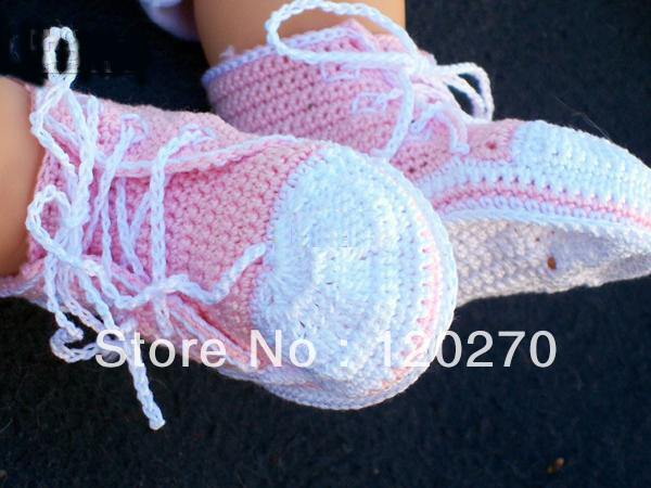 Free shipping Wholesale Crochet Baby Boys Sport Shoes Sneakers Newborn Infant Tennis Shoes Knit Booties 0-12M Cotton Yarn Custom(China (Mainland))