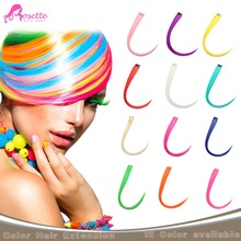 """24"""" 12Pcs/set Straigh Long Synthetic Hair Extension Mixed Color Hairpiece Rainbow Color Hair Highlight Clip In Hair Extension(China (Mainland))"""