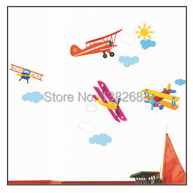 Free Shipping Propeller Airplane Removable DIY Wall Stickers Carsair Mural Art Window Cling Kid Room Paper Daycare Decor TC962(China (Mainland))
