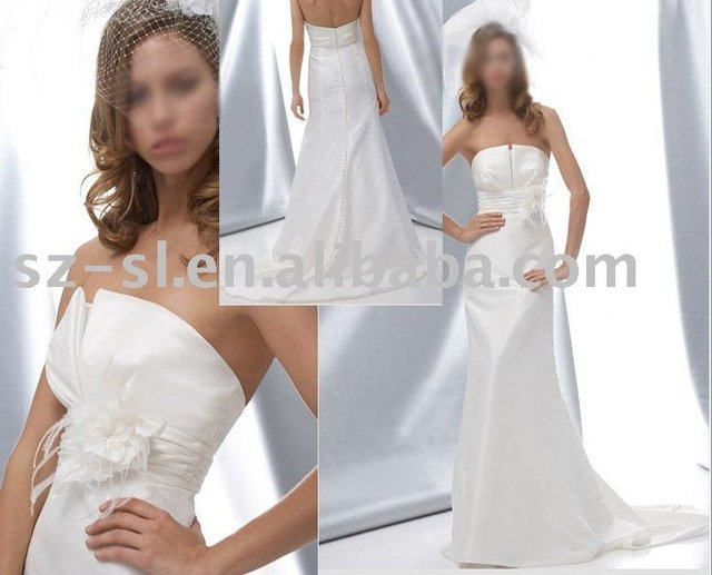 Wedding dress/gown square neck sl-342