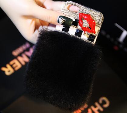 4.7inch Cute Pretty Luxury diamond Candy lipstick heart love lip rouge Rabbit hair fur DIY Cover Case iphone 6 - Rhinestone Family store