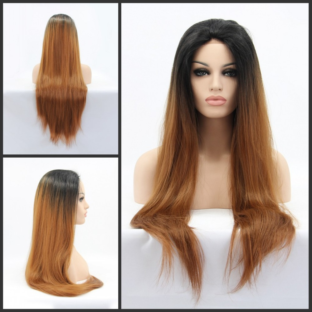 Instock heat resistant silk straight Ombre two tone Black Brown Wigs synthetic lace front wig - Qingdao noble queen hair factory store