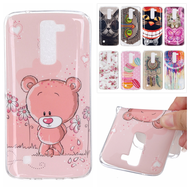 Silicone Case for LG K7 X210 MS330 Tribute 5 LS675 M1 Cute Cover Cartoon Bear Owl