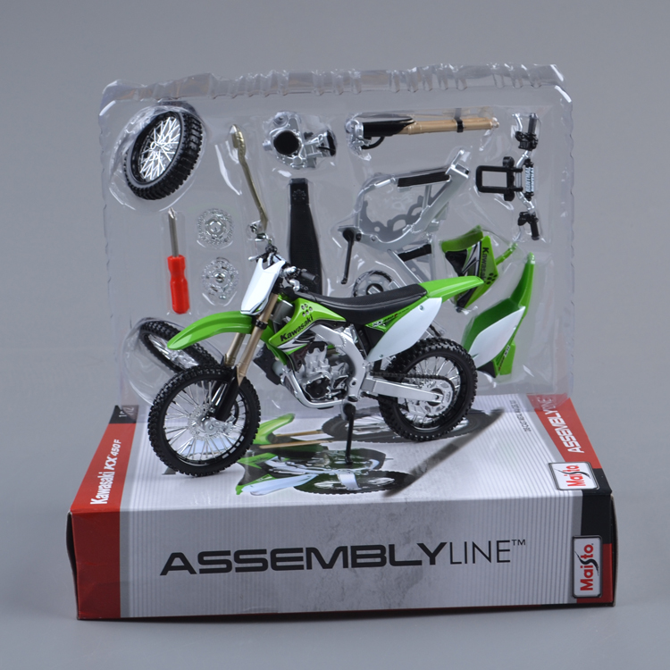 (5pcs/pack) Free Shipping Wholesale 1/12 Scale Assembly Motorcycle Toy Kawasaki KX 450F Compages Motorbike Model Toy(China (Mainland))
