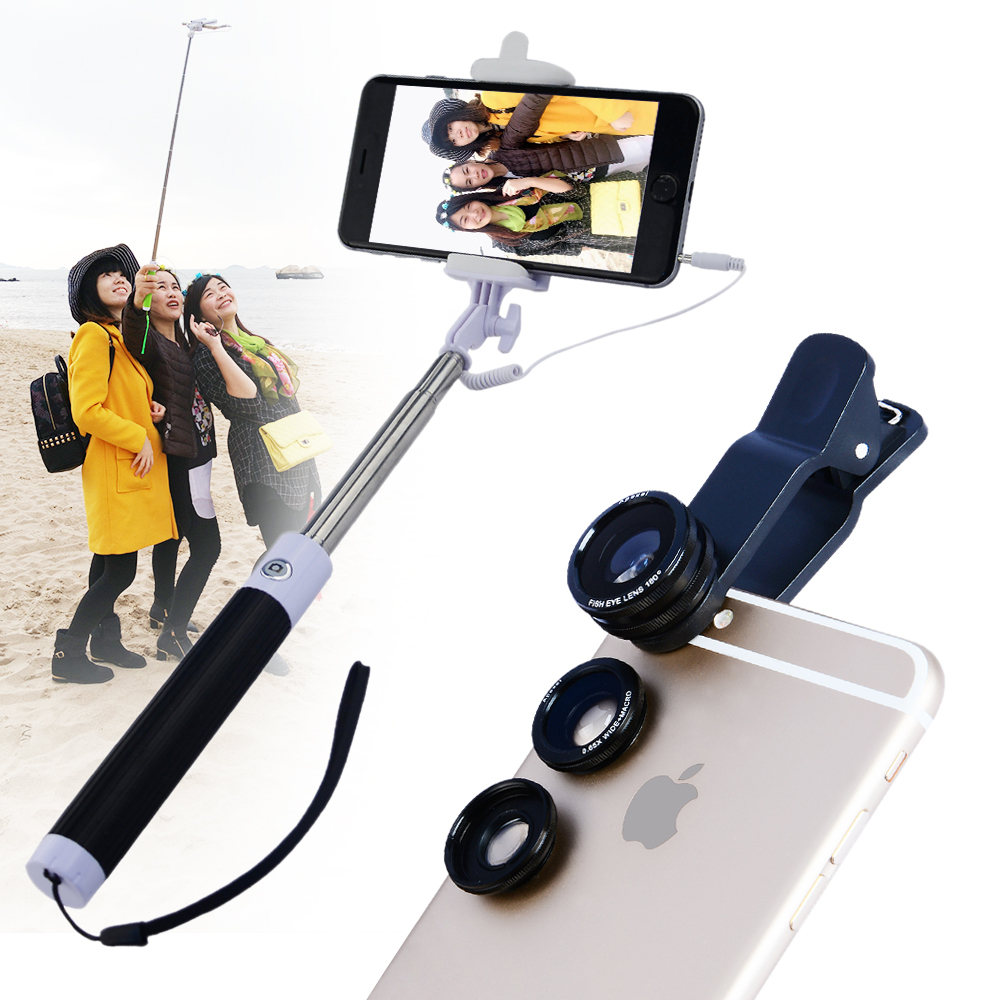 selfie stick cable monopod with camere lens kit for iphone 6s plus samsung s7. Black Bedroom Furniture Sets. Home Design Ideas
