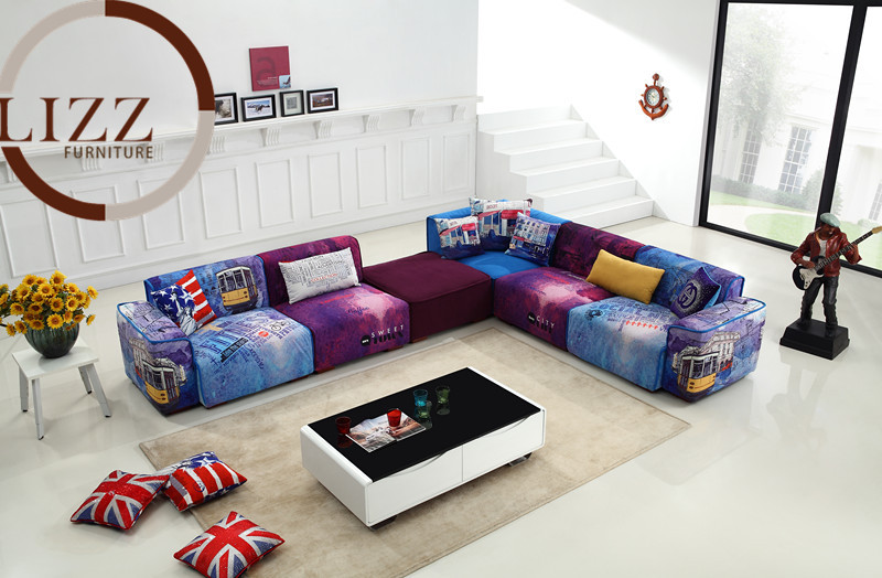U.K. Modern Sectional Fabric Sofa GD-09 # Living Room L shaped Fabric Corner modern fabric sofa(China (Mainland))