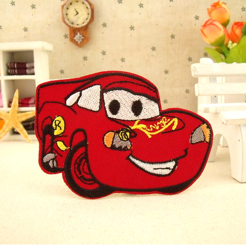 ---N0 199 design red car Embroidered patches glue, iron-on /sew-on girls cloth garment shoes bags - kele clothing &accessory store