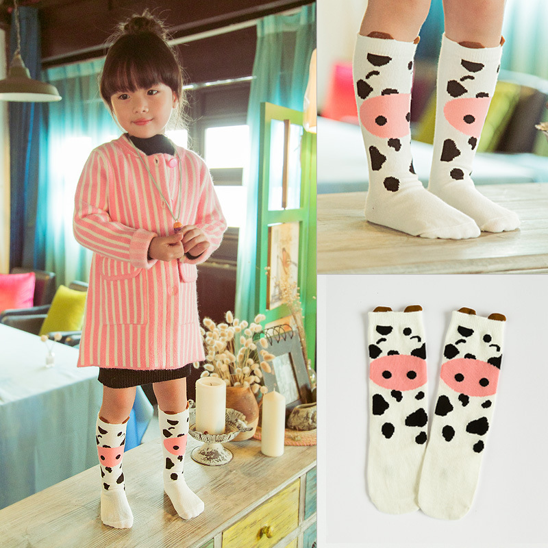New Design Toddler Knee High Baby Socks For Girl Spring Winter Leg Warmers Cotton Socks Print Cute Cartoon Pattern