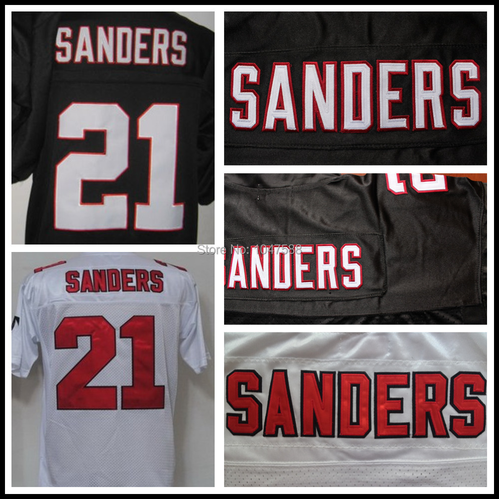 Cheap Deion Sanders Jersey,Atlanta 21# Authentic Throwback American Football Jersey,Hall of Fame Uniforms,Black White(China (Mainland))