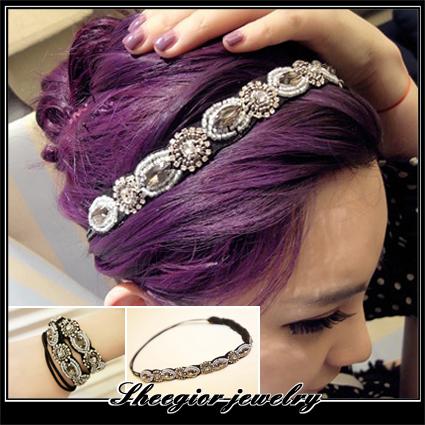 Long Hair jewelry hair Handmade beaded Rhinestone nightclub queen Retro Ribbon headband women fine - SHEEGIOR FASHION JEWELRY store