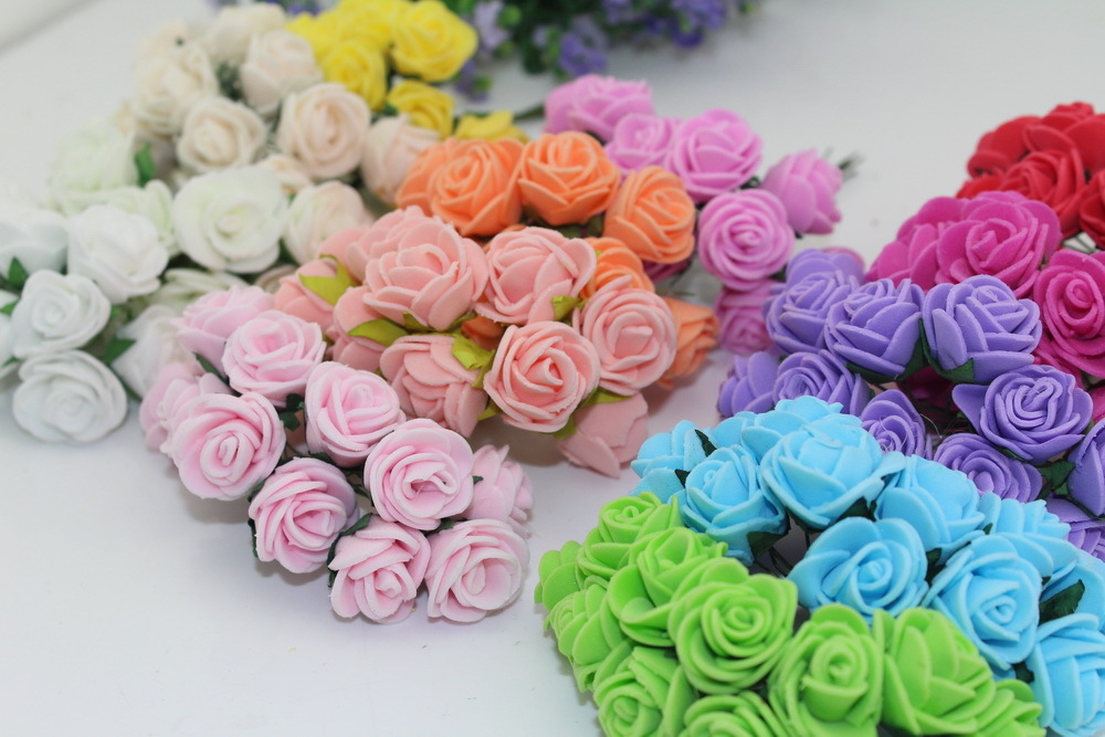 2.5CM Diameter Multicolor PE Rose Foam Mini Flower Bouquet Solid Color/wedding decoration(144pcs/lot) HD009 Free Shipping(China (Mainland))