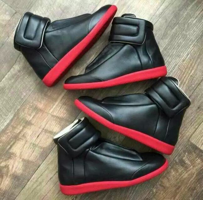 Size 38-46 MMM Men Sneakers High top Real Leather Brand new Male Casual Sneakers platform Velcro lacing 2015 fashion shoes(China (Mainland))