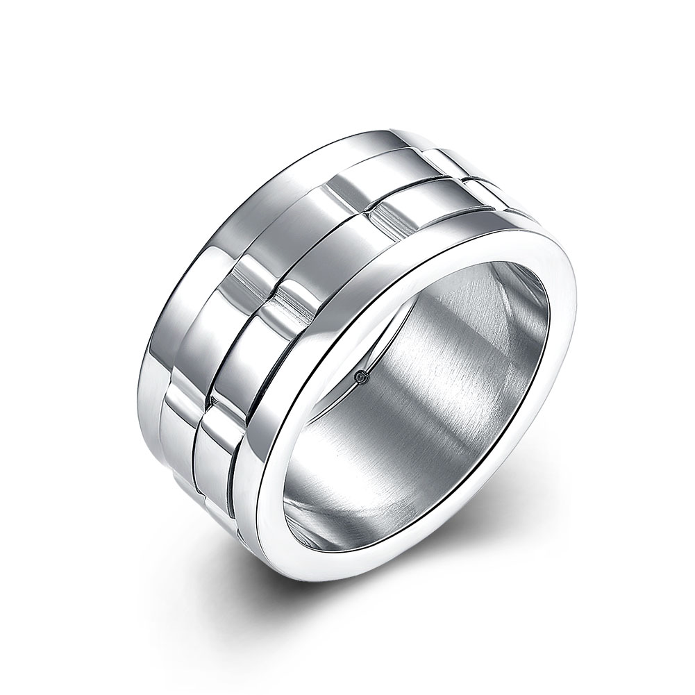 Wide Silver Spinner Dual Layer Stainless Steel Rings For Men Women Fashion Titanium Wedding Engagement HMJPR009(China (Mainland))
