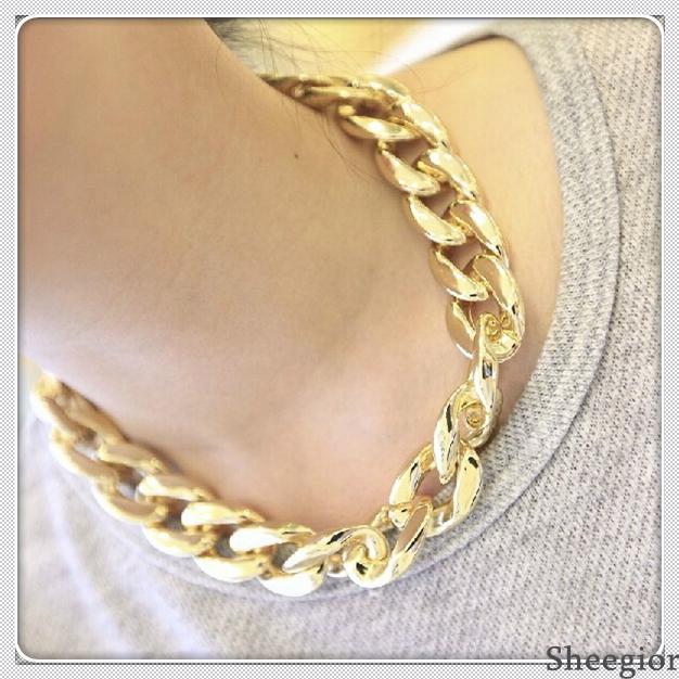 3 colors Fashion Chain Necklace All-match Bib Statement Necklaces Pendants Pop Europe America Colar Chokers Necklaces women 2014
