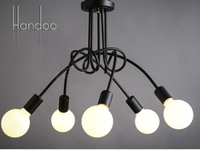 Creative Black & white E27 with bulbs Pendant lamp vintage personality modern brief led ceiling light