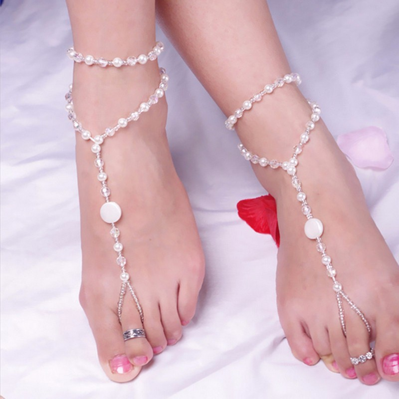 Original style beach wedding Pearl barefoot sandals stretch anklet chain footless bridal foot jewelry JL029