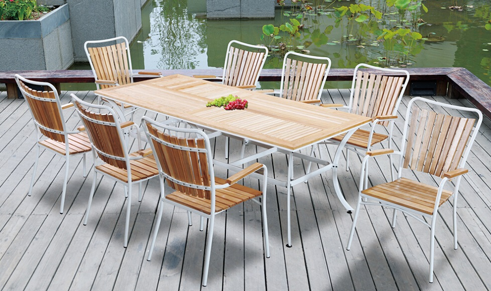 cheap patio furniture outdoor plastic wood dining table set wooden